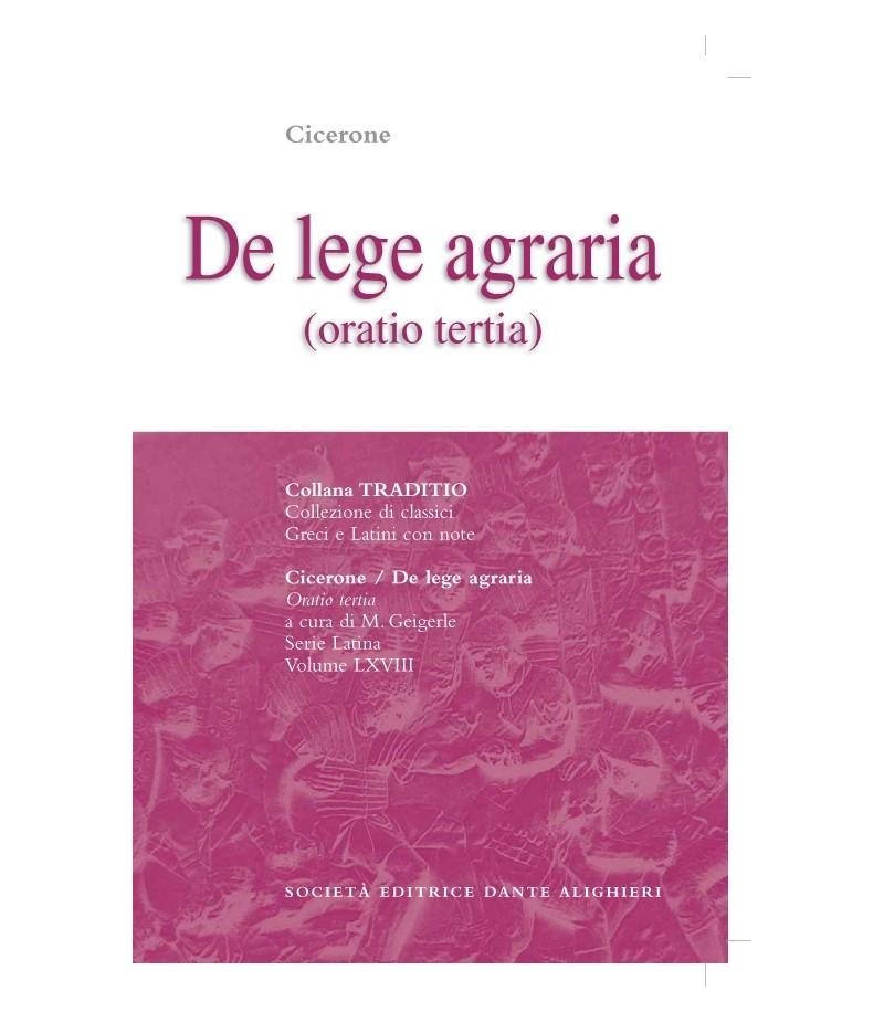 Cicerone DE LEGE AGRARIA III a cura di M. Geigerle